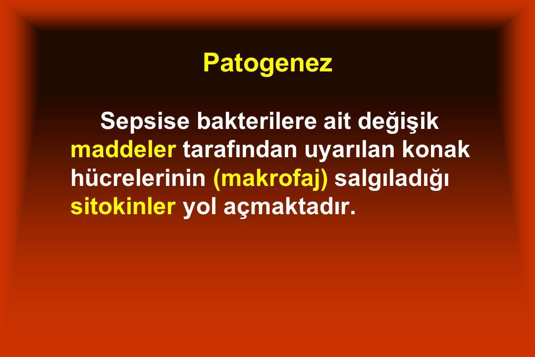 Patogenez Sepsise bakterilere ait değişik maddeler tarafından uyarılan konak hücrelerinin (makrofaj) salgıladığı sitokinler yol açmaktadır.