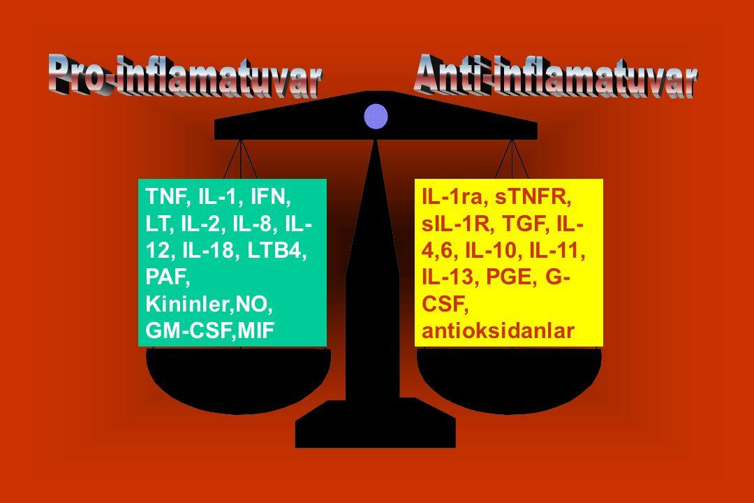 TNF, IL-1, IFN, LT, IL-2, IL-8, IL- 12, IL-18, LTB4, PAF, Kininler,NO, GM-CSF,MIF IL-1ra, sTNFR, sIL-1R, TGF, IL- 4,6, IL-10, IL-11, IL-13, PGE, G- CSF, antioksidanlar