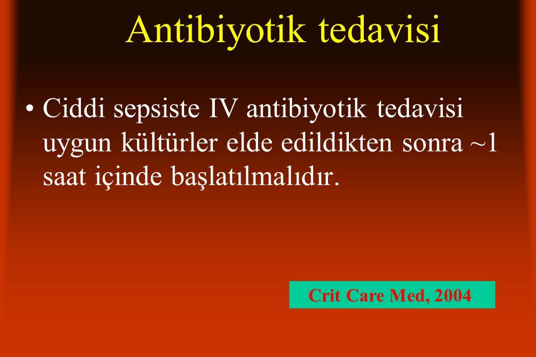 Antibiyotik tedavisi Ciddi sepsiste IV antibiyotik tedavisi uygun kültürler elde edildikten sonra ~1 saat içinde başlatılmalıdır. Crit Care Med, 2004