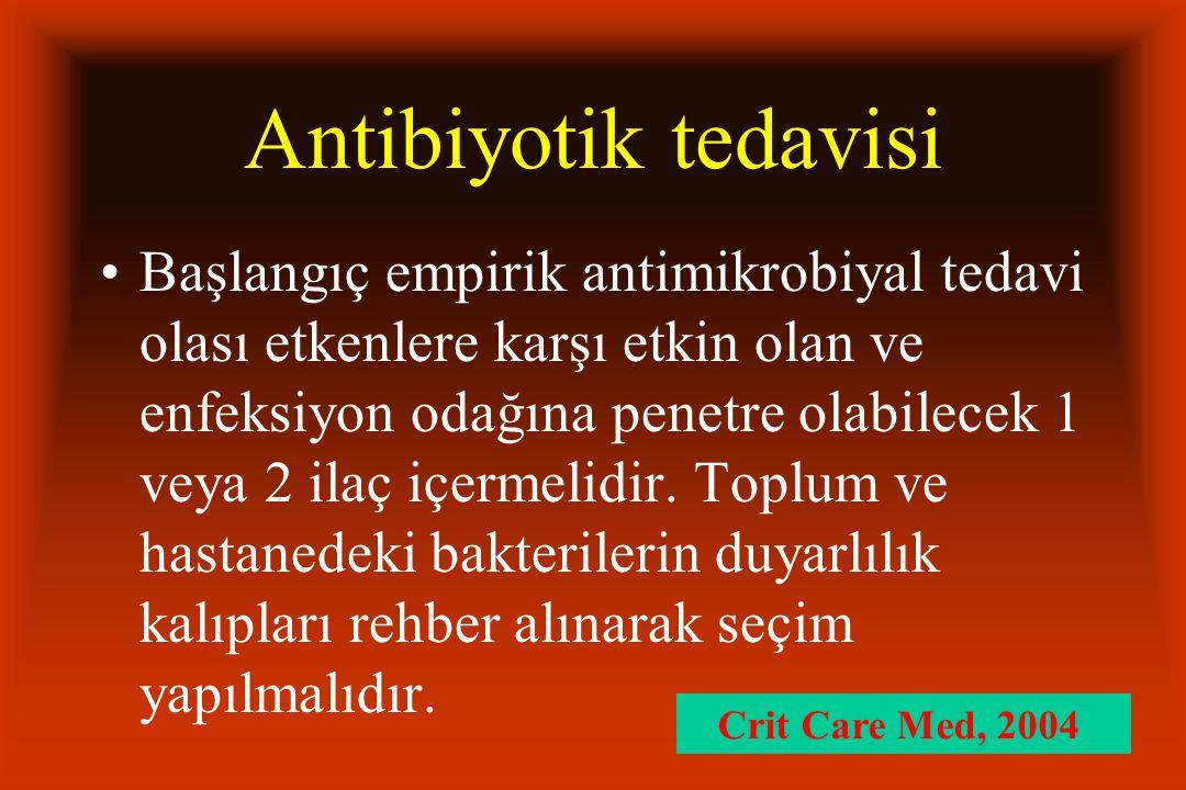 Antibiyotik tedavisi Başlangıç empirik antimikrobiyal tedavi olası etkenlere karşı etkin olan ve enfeksiyon odağına penetre olabilecek 1 veya 2 ilaç içermelidir.