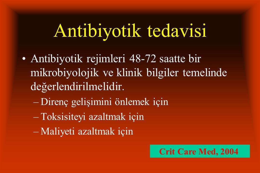 Antibiyotik tedavisi Antibiyotik rejimleri 48-72 saatte bir mikrobiyolojik ve klinik bilgiler temelinde değerlendirilmelidir. –Direnç gelişimini önlem
