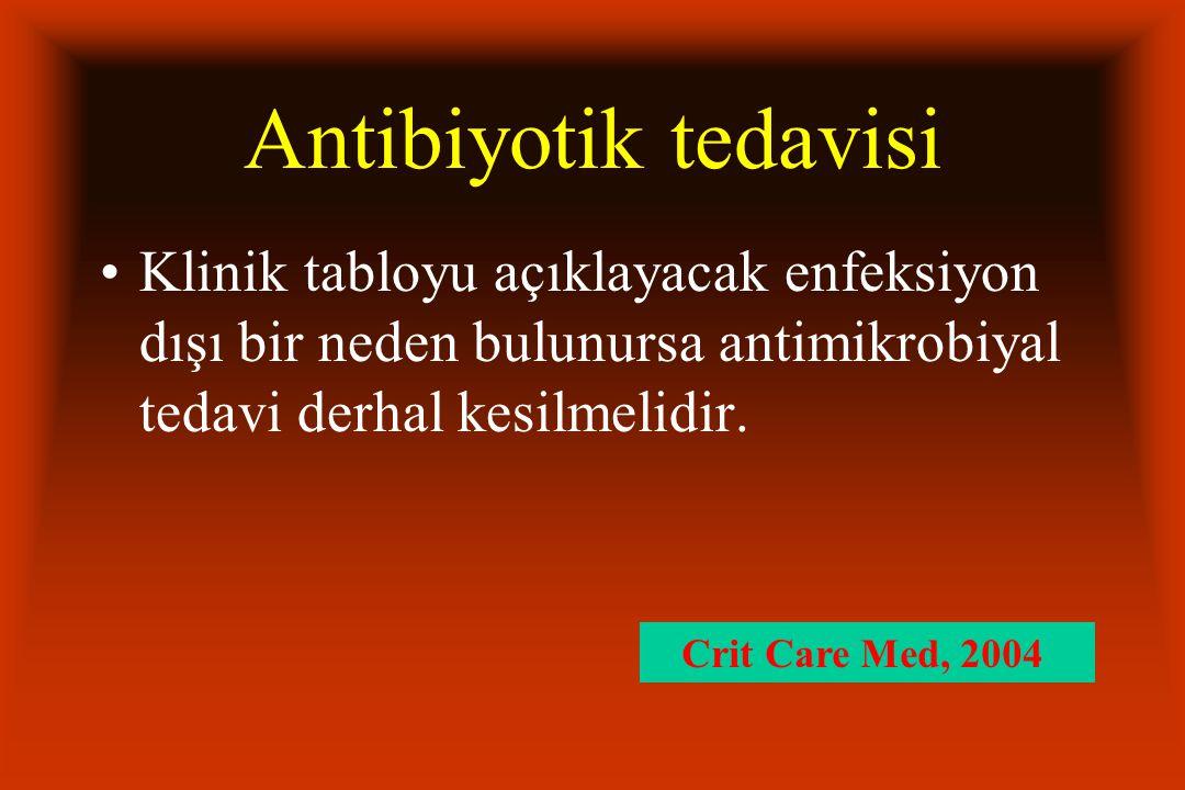 Antibiyotik tedavisi Klinik tabloyu açıklayacak enfeksiyon dışı bir neden bulunursa antimikrobiyal tedavi derhal kesilmelidir. Crit Care Med, 2004