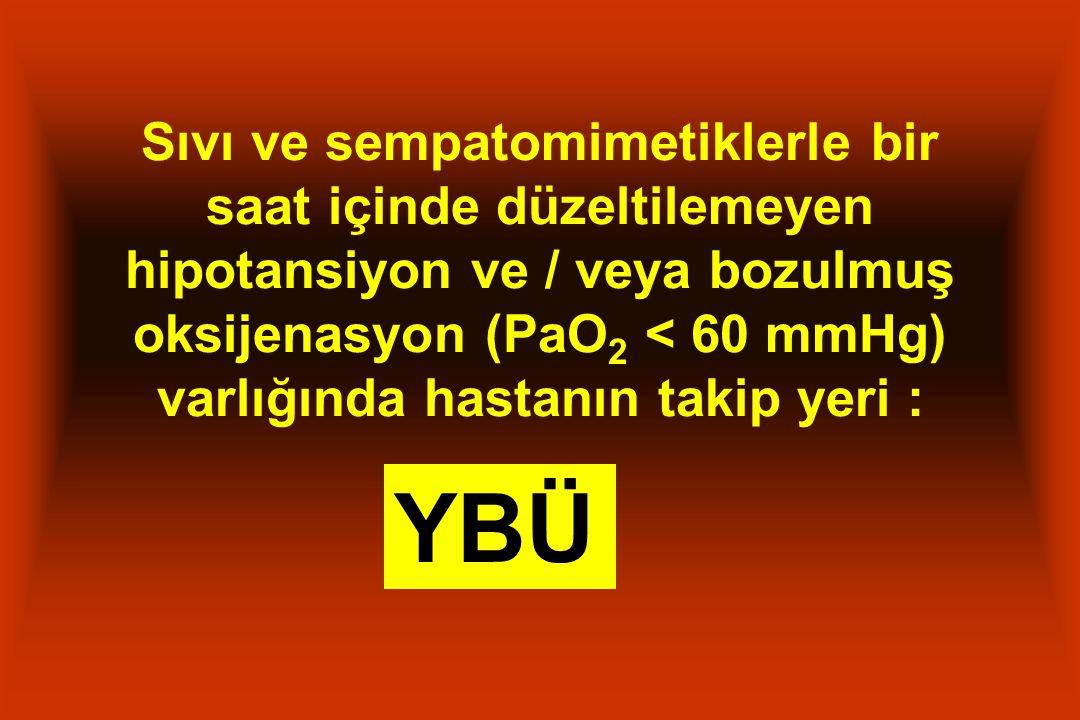 Sıvı ve sempatomimetiklerle bir saat içinde düzeltilemeyen hipotansiyon ve / veya bozulmuş oksijenasyon (PaO 2 < 60 mmHg) varlığında hastanın takip yeri : YBÜ