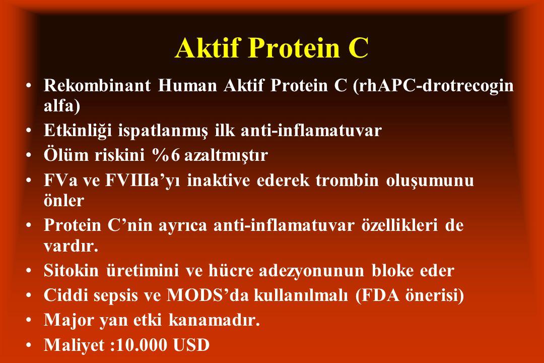 Aktif Protein C Rekombinant Human Aktif Protein C (rhAPC-drotrecogin alfa) Etkinliği ispatlanmış ilk anti-inflamatuvar Ölüm riskini %6 azaltmıştır FVa ve FVIIIa'yı inaktive ederek trombin oluşumunu önler Protein C'nin ayrıca anti-inflamatuvar özellikleri de vardır.