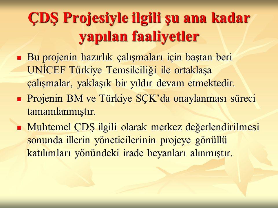 ÇDŞ Projesiyle ilgili şu ana kadar yapılan faaliyetler Bu projenin hazırlık çalışmaları için baştan beri UNİCEF Türkiye Temsilciliği ile ortaklaşa çal