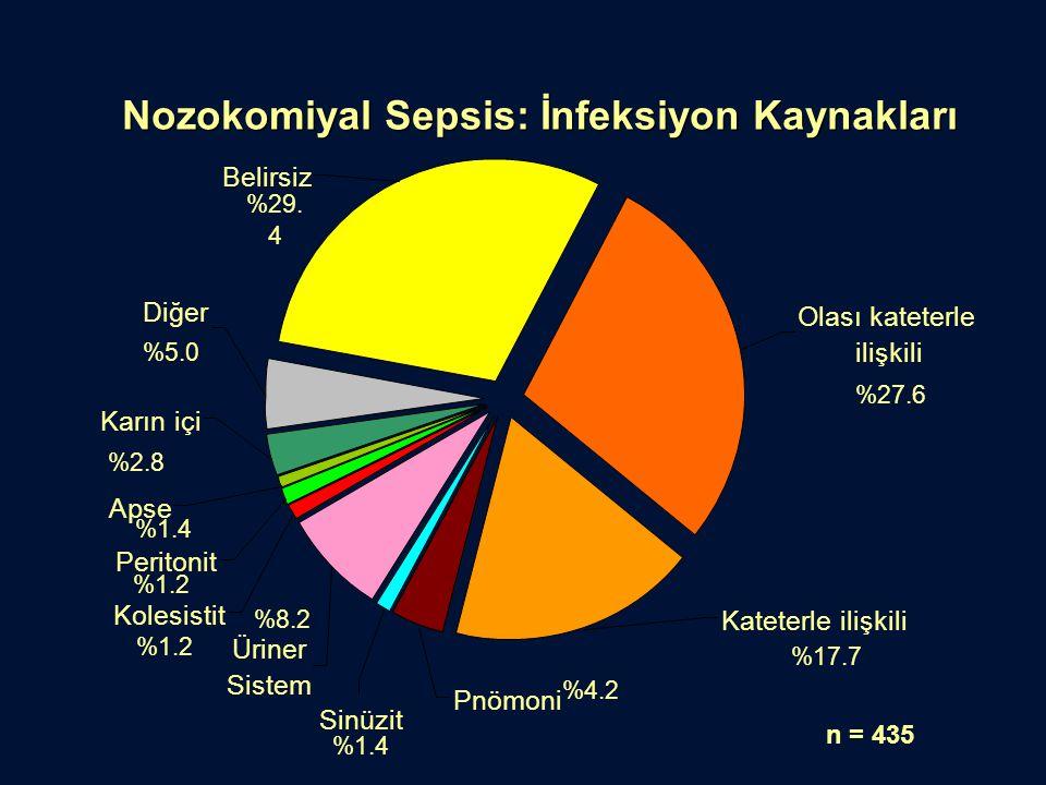Nozokomiyal Sepsis: İnfeksiyon Kaynakları n = 435 Apse Peritonit Kolesistit Sinüzit Pnömoni Karın içi Belirsiz Üriner Sistem Diğer Kateterle ilişkili