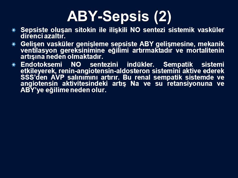 ABY-Sepsis (2) Sepsiste oluşan sitokin ile ilişkili NO sentezi sistemik vasküler direnci azaltır. Gelişen vasküler genişleme sepsiste ABY gelişmesine,
