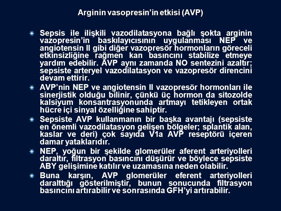 Arginin vasopresin'in etkisi (AVP) Sepsis ile ilişkili vazodilatasyona bağlı şokta arginin vazopresin'in baskılayıcısının uygulanması NEP ve angiotens