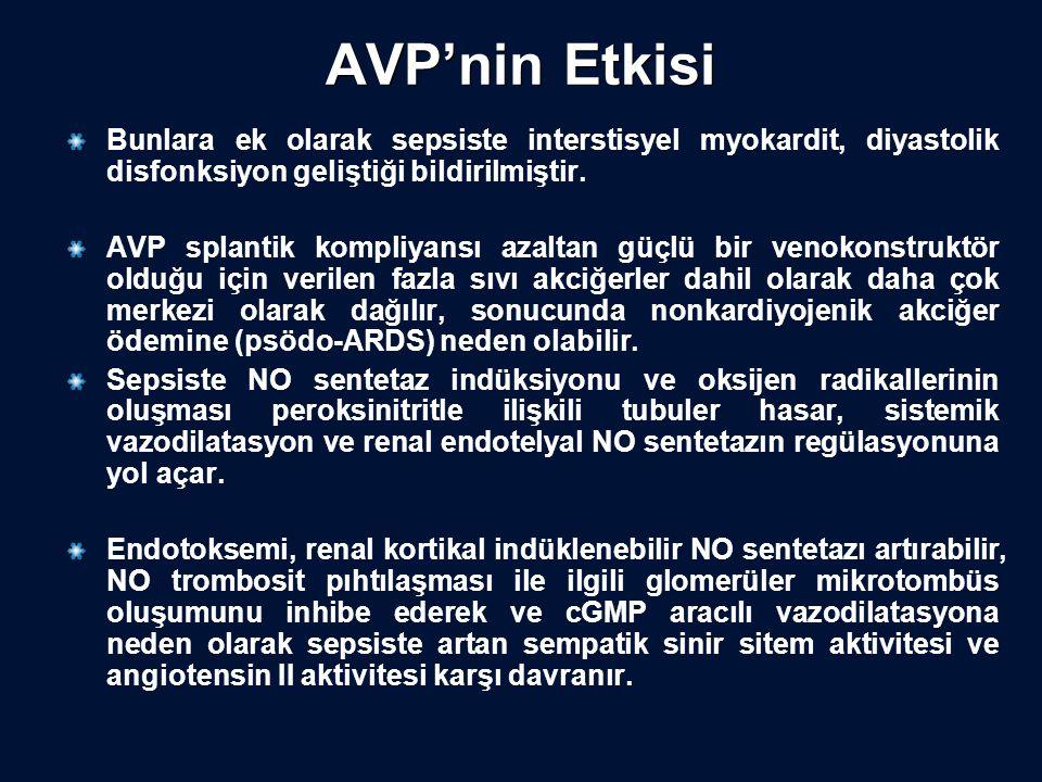 AVP'nin Etkisi Bunlara ek olarak sepsiste interstisyel myokardit, diyastolik disfonksiyon geliştiği bildirilmiştir. AVP splantik kompliyansı azaltan g