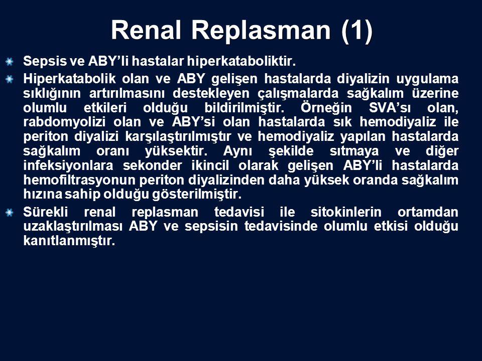 Renal Replasman (1) Sepsis ve ABY'li hastalar hiperkataboliktir. Hiperkatabolik olan ve ABY gelişen hastalarda diyalizin uygulama sıklığının artırılma