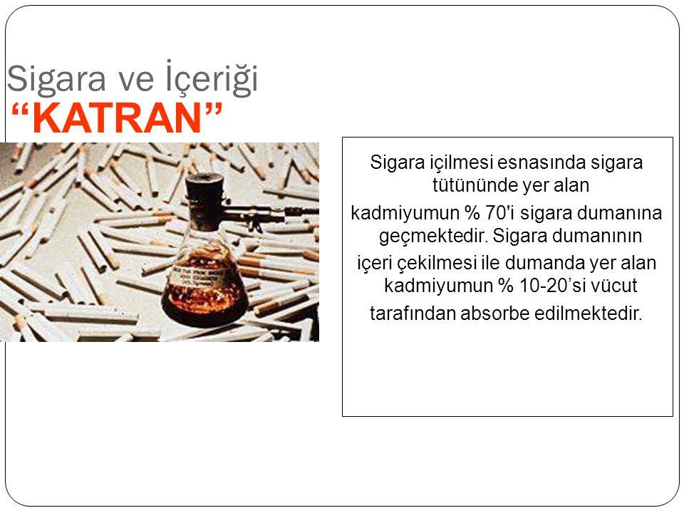 """Sigara ve İçeriği """"KATRAN"""" Sigara içilmesi esnasında sigara tütününde yer alan kadmiyumun % 70'i sigara dumanına geçmektedir. Sigara dumanının içeri ç"""