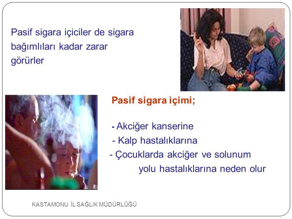 KASTAMONU İL SAĞLIK MÜDÜRLÜĞÜ Pasif sigara içiciler de sigara bağımlıları kadar zarar görürler Pasif sigara içimi; - Akciğer kanserine - Kalp hastalık