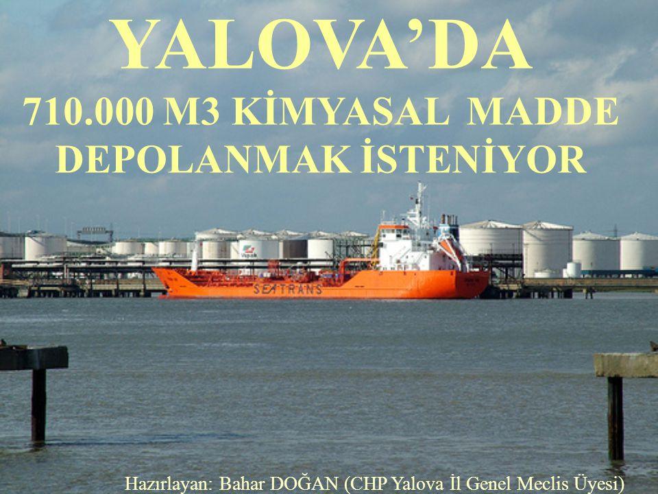 YALOVA'DA 710.000 M3 KİMYASAL MADDE DEPOLANMAK İSTENİYOR Hazırlayan: Bahar DOĞAN (CHP Yalova İl Genel Meclis Üyesi)