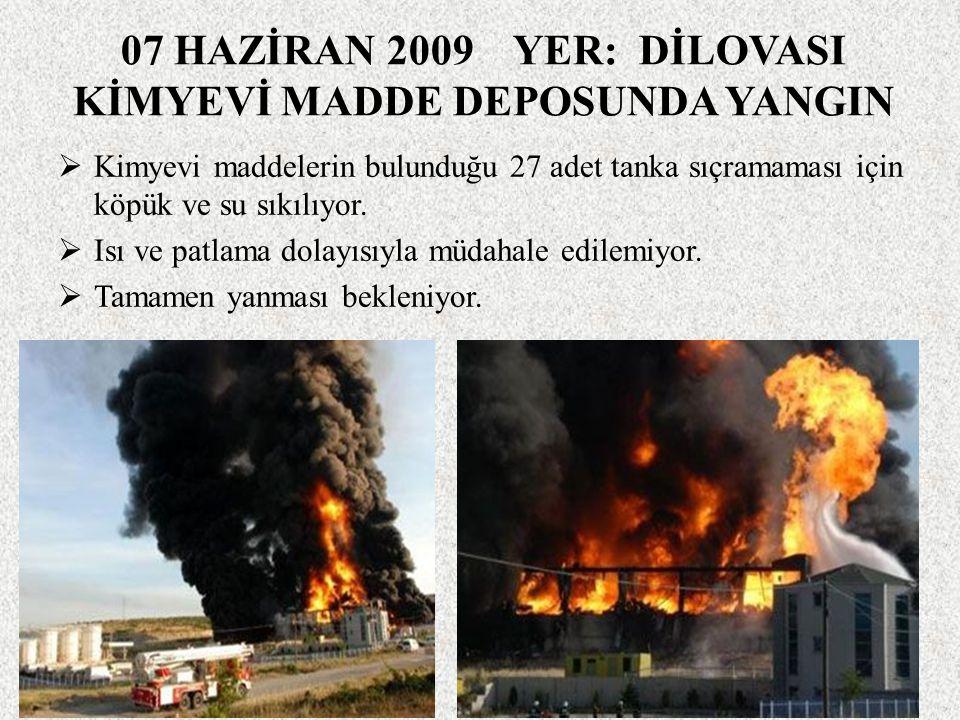 07 HAZİRAN 2009 YER: DİLOVASI KİMYEVİ MADDE DEPOSUNDA YANGIN  Kimyevi maddelerin bulunduğu 27 adet tanka sıçramaması için köpük ve su sıkılıyor.