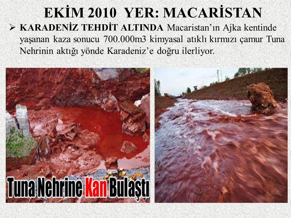 EKİM 2010 YER: MACARİSTAN  KARADENİZ TEHDİT ALTINDA Macaristan'ın Ajka kentinde yaşanan kaza sonucu 700.000m3 kimyasal atıklı kırmızı çamur Tuna Nehrinin aktığı yönde Karadeniz'e doğru ilerliyor.