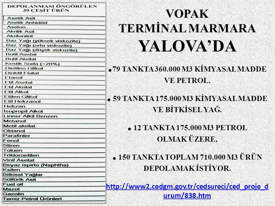 VOPAK TERMİNAL MARMARA YALOVA'DA. 79 TANKTA 360.000 M3 KİMYASAL MADDE VE PETROL..