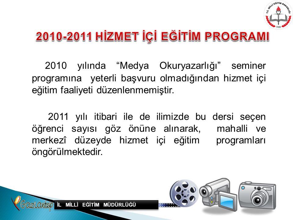 """2010 yılında """"Medya Okuryazarlığı"""" seminer programına yeterli başvuru olmadığından hizmet içi eğitim faaliyeti düzenlenmemiştir. 2011 yılı itibari ile"""