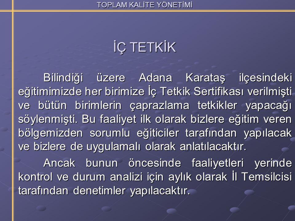 TOPLAM KALİTE YÖNETİMİ Bilindiği üzere Adana Karataş ilçesindeki eğitimimizde her birimize İç Tetkik Sertifikası verilmişti ve bütün birimlerin çapraz