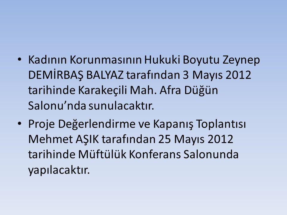 Kadının Korunmasının Hukuki Boyutu Zeynep DEMİRBAŞ BALYAZ tarafından 3 Mayıs 2012 tarihinde Karakeçili Mah. Afra Düğün Salonu'nda sunulacaktır. Proje