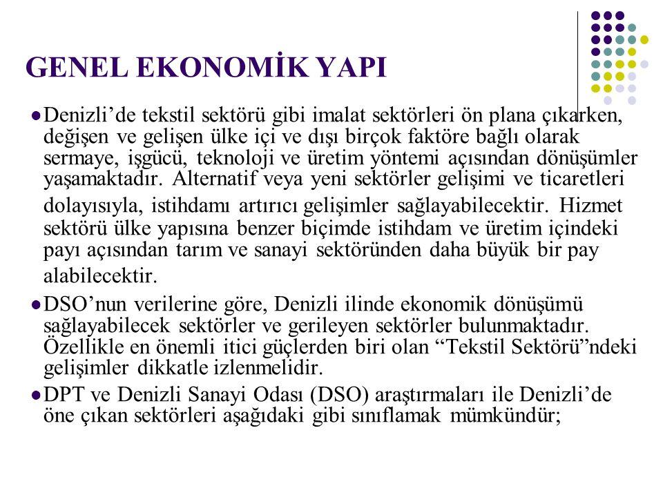 Denizli ve Türkiye İhracatçı Firma Sayısı Bölge/ Yıllar 20042005200620072008Ocak- Nisan 2008 Ocak- Nisan 2009 Denizli636689724780732569553 Türkiye39,43242,13844,15948,26548,14133,94634,143 Denizli Payı(%) 1,611,64 1,62 1,681,62 Kaynak: DTM İl merkezinde kayıtlı firmaların verileri İthalatçı firma sayısı ihracatçı firma sayısının %41.4'dür.