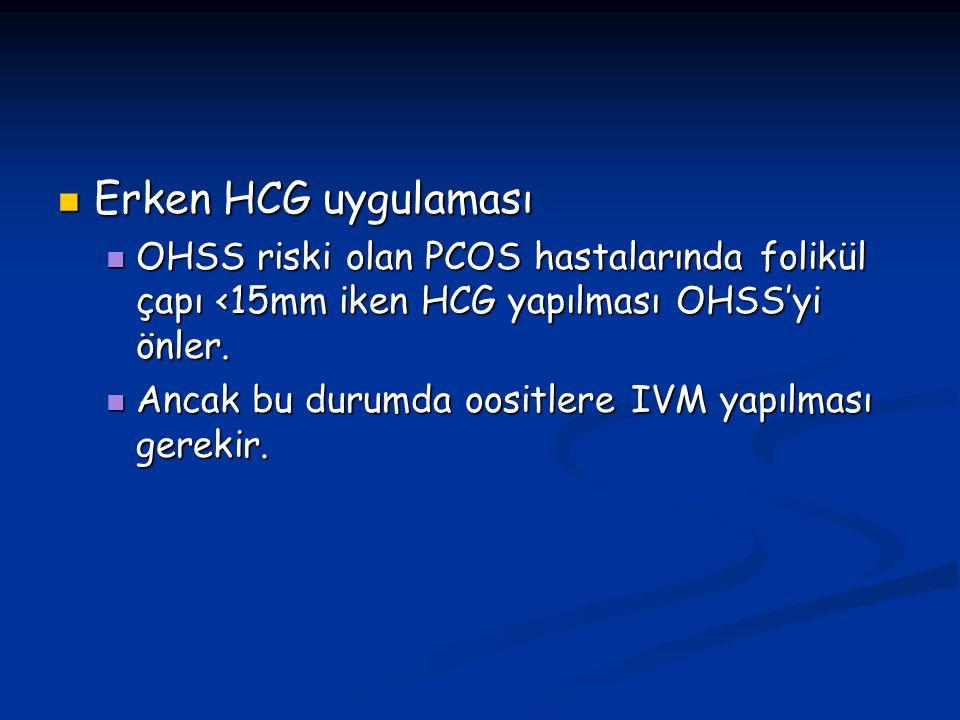 Erken HCG uygulaması Erken HCG uygulaması OHSS riski olan PCOS hastalarında folikül çapı <15mm iken HCG yapılması OHSS'yi önler. OHSS riski olan PCOS