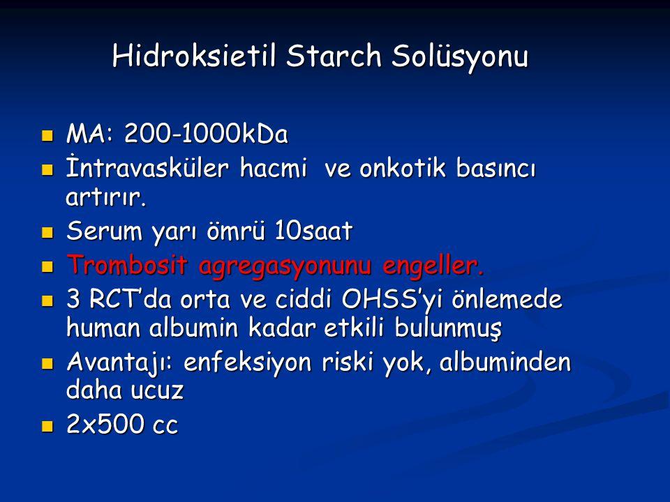 Hidroksietil Starch Solüsyonu MA: 200-1000kDa MA: 200-1000kDa İntravasküler hacmi ve onkotik basıncı artırır. İntravasküler hacmi ve onkotik basıncı a