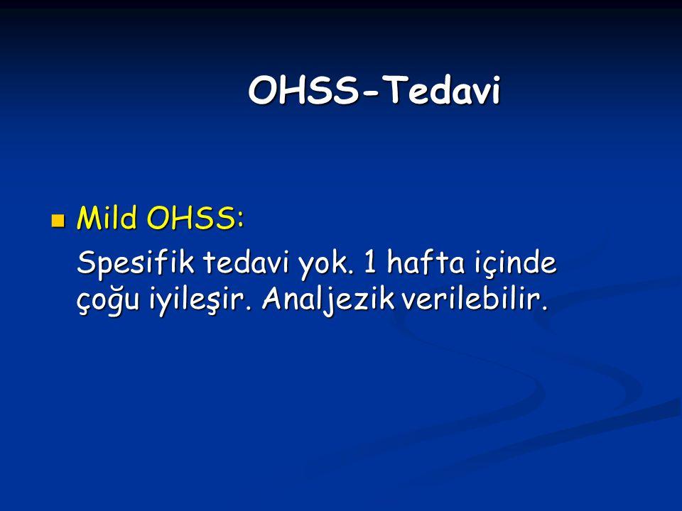 Mild OHSS: Mild OHSS: Spesifik tedavi yok. 1 hafta içinde çoğu iyileşir. Analjezik verilebilir. OHSS-Tedavi