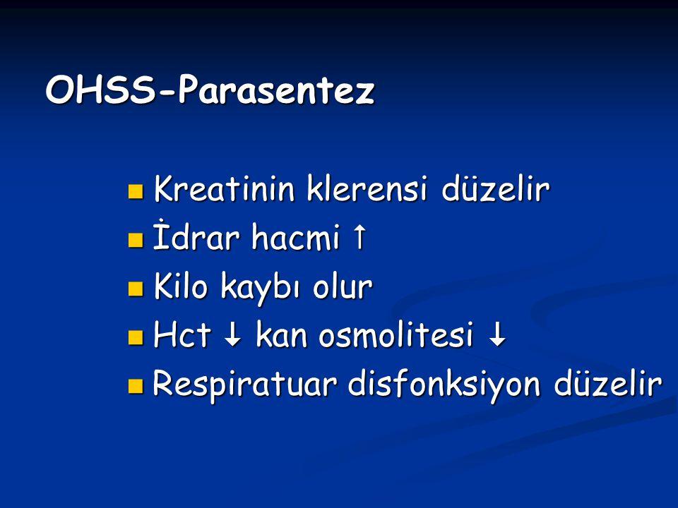 OHSS-Parasentez Kreatinin klerensi düzelir Kreatinin klerensi düzelir İdrar hacmi  İdrar hacmi  Kilo kaybı olur Kilo kaybı olur Hct  kan osmolitesi