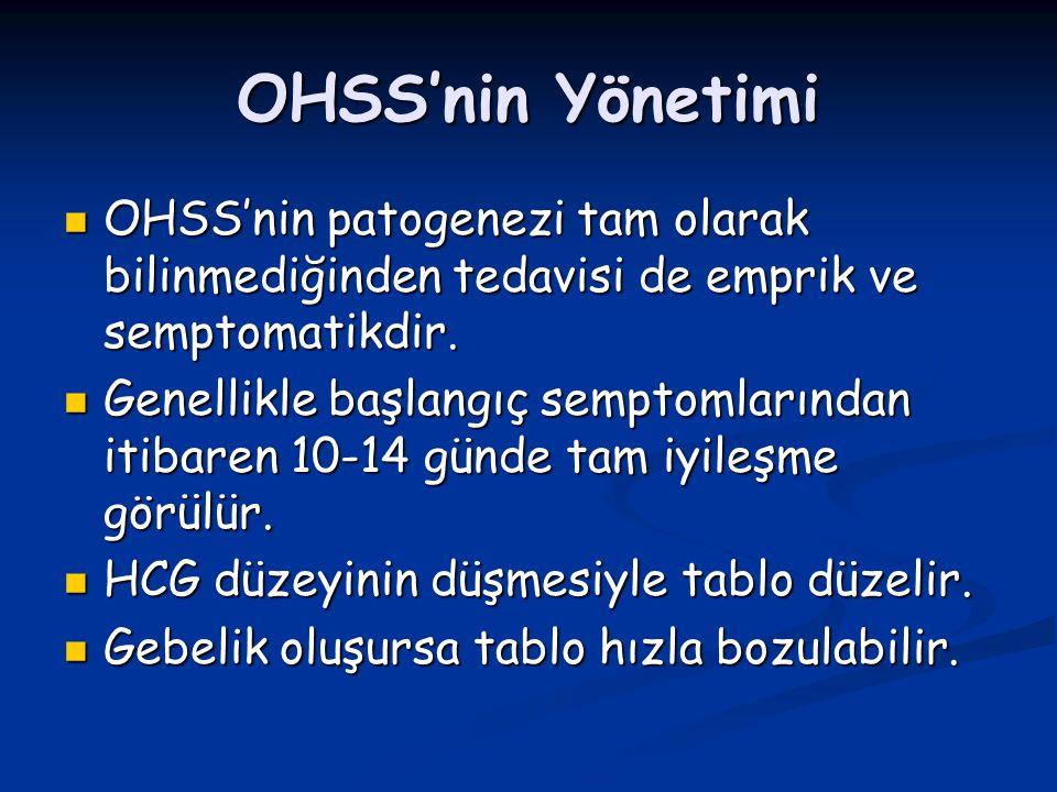 OHSS'nin Yönetimi OHSS'nin patogenezi tam olarak bilinmediğinden tedavisi de emprik ve semptomatikdir. OHSS'nin patogenezi tam olarak bilinmediğinden