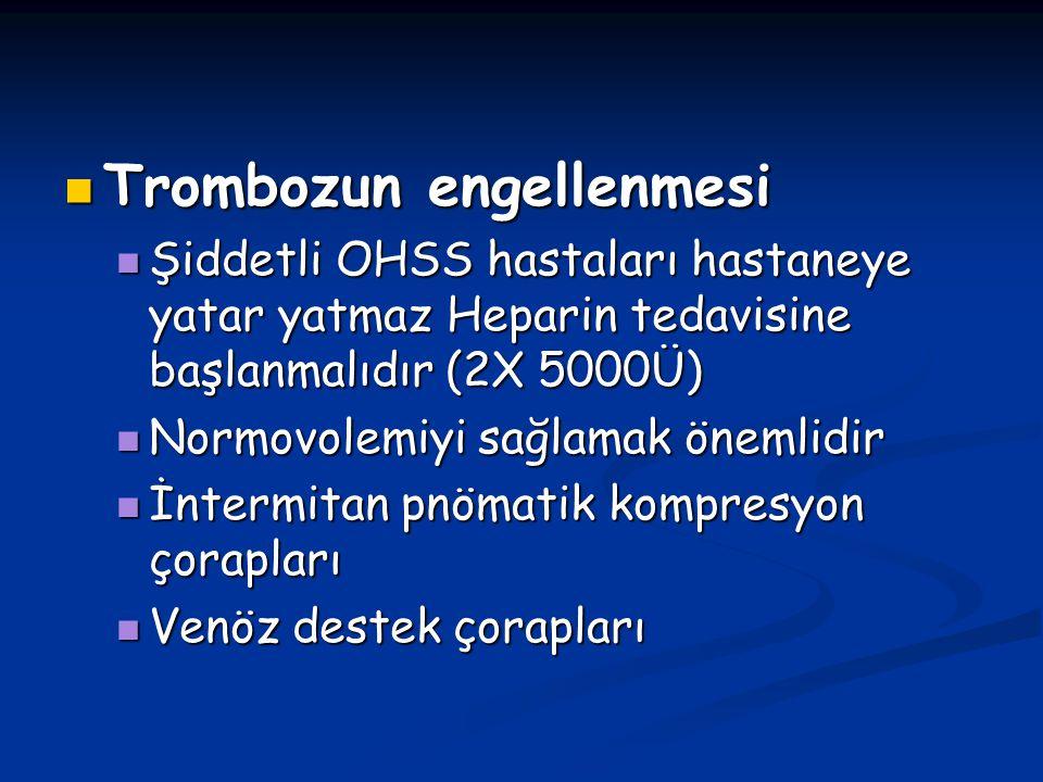 Trombozun engellenmesi Trombozun engellenmesi Şiddetli OHSS hastaları hastaneye yatar yatmaz Heparin tedavisine başlanmalıdır (2X 5000Ü) Şiddetli OHSS