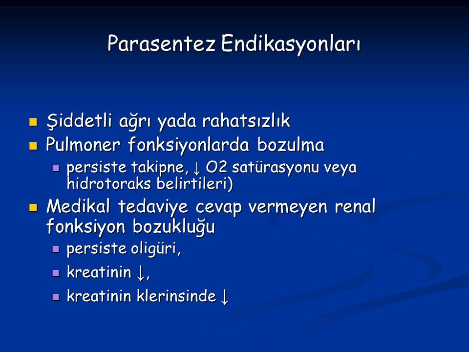 Parasentez Endikasyonları Şiddetli ağrı yada rahatsızlık Şiddetli ağrı yada rahatsızlık Pulmoner fonksiyonlarda bozulma Pulmoner fonksiyonlarda bozulm
