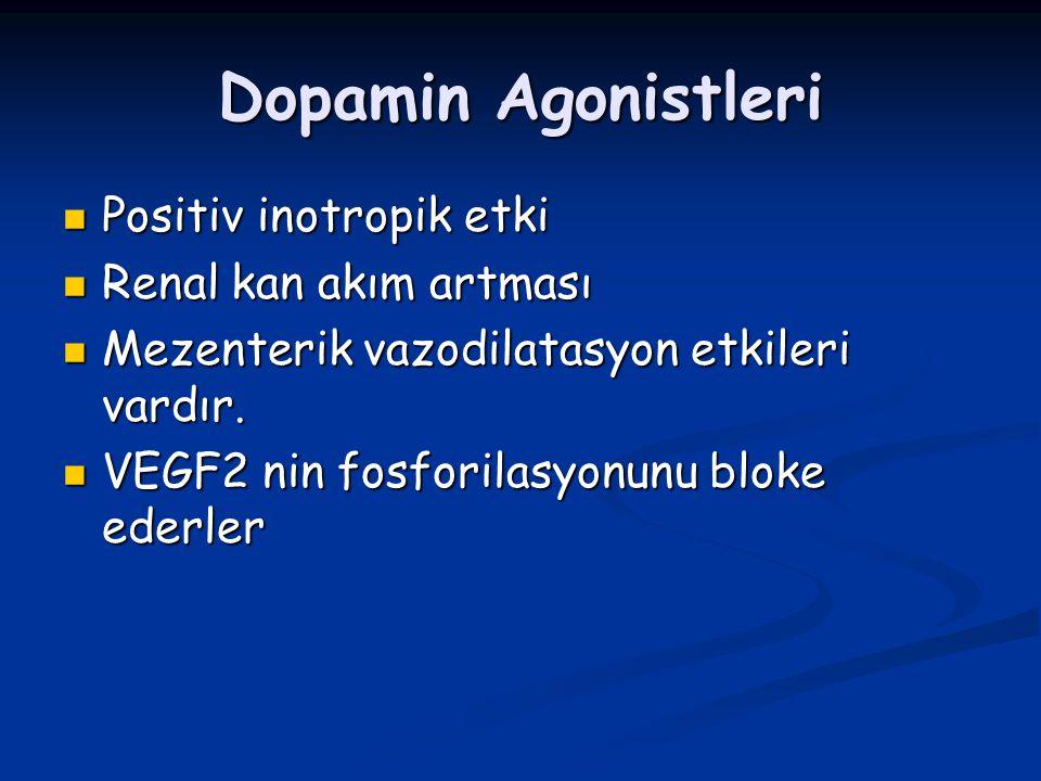 Dopamin Agonistleri Positiv inotropik etki Positiv inotropik etki Renal kan akım artması Renal kan akım artması Mezenterik vazodilatasyon etkileri var
