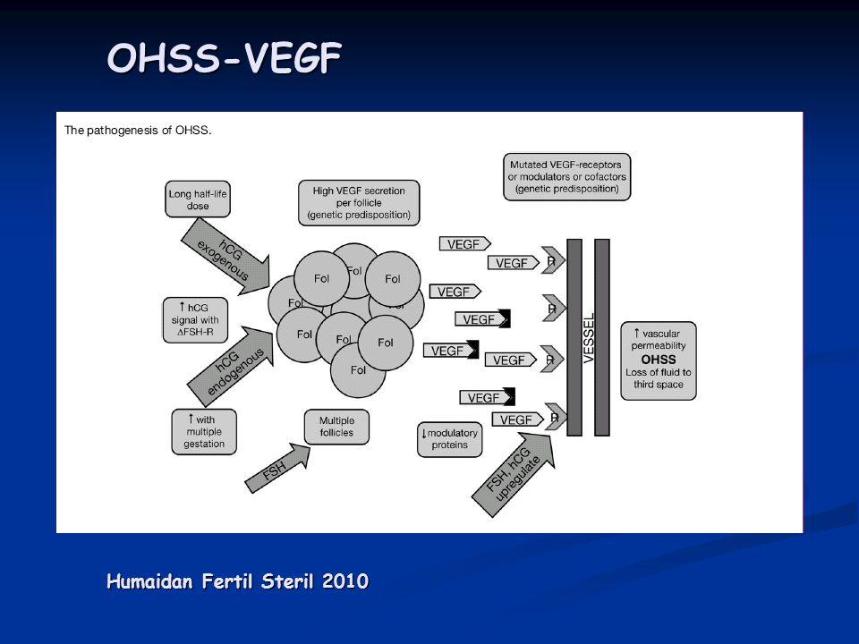 OHSS Ovaryan büyüme Abdominal distansiyon Ascite Artmış kapiller Geçirgenlik ve angiogenez Na+ H2O absorbsiyonunda artma R-A-A Sisteminin aktive olması İntravasküler hipovolemi Hipotansiyon taşikardi Azalmış renal perfüzyon Oligüri Azotemi Hiperkalemi Asidoz Hemokonsantrasyon Tromboemboli IL-1 IL-2 IL-6 VEGF RAS hCG & ↑ E2 hCG & ↑ E2