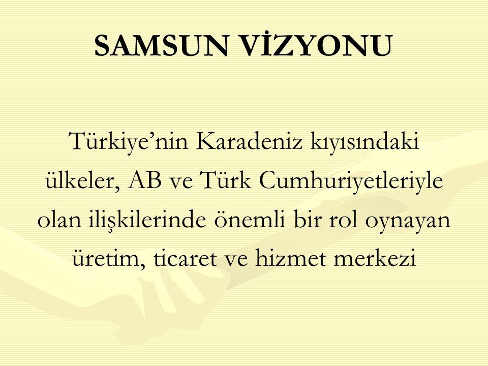 SAMSUN VİZYONU Türkiye'nin Karadeniz kıyısındaki ülkeler, AB ve Türk Cumhuriyetleriyle olan ilişkilerinde önemli bir rol oynayan üretim, ticaret ve hizmet merkezi