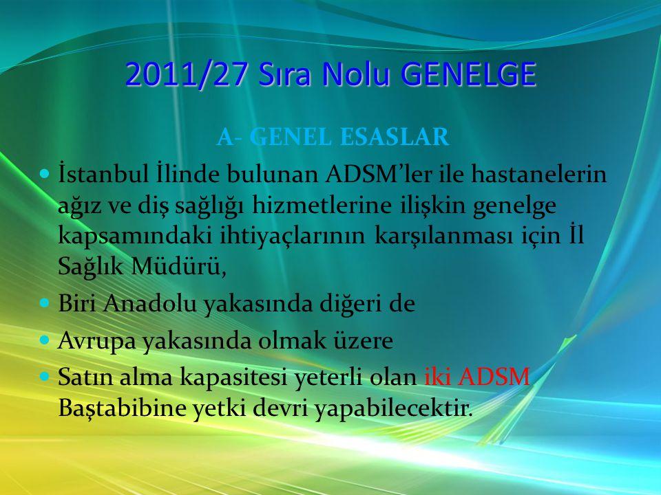 2011/27 Sıra Nolu GENELGE A- GENEL ESASLAR İstanbul İlinde bulunan ADSM'ler ile hastanelerin ağız ve diş sağlığı hizmetlerine ilişkin genelge kapsamın