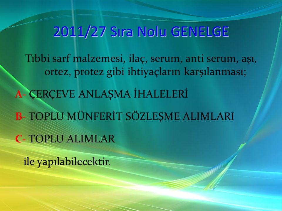 2011/27 Sıra Nolu GENELGE B- TOPLU ALIMLAR Sözleşmenin devri, değişikliği, feshi gibi işlemler sözleşmeyi imzalayan Merkezi Satın Alma Birimleri tarafından yapılacaktır.