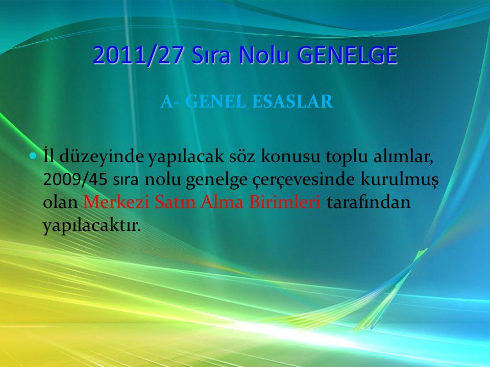 2011/27 Sıra Nolu GENELGE A- GENEL ESASLAR İhtiyaçları tedarikçi bir kurum tarafından karşılanan bağlı kurumlar, İl düzeyinde yapılan toplu alımlar kapsamında alım yapmayacaklardır.