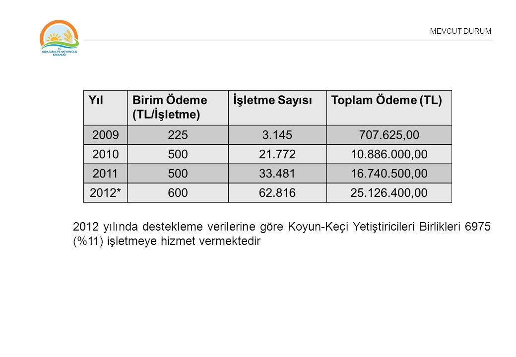 MEVCUT DURUM 2012 yılında destekleme verilerine göre Koyun-Keçi Yetiştiricileri Birlikleri 6975 (%11) işletmeye hizmet vermektedir