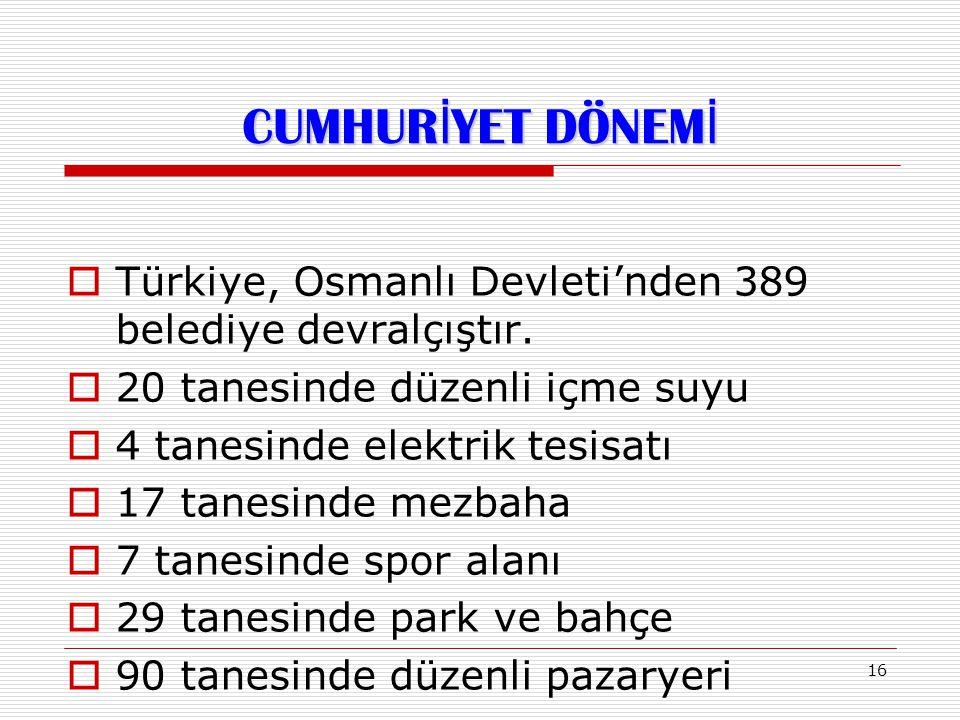 16  Türkiye, Osmanlı Devleti'nden 389 belediye devralçıştır.  20 tanesinde düzenli içme suyu  4 tanesinde elektrik tesisatı  17 tanesinde mezbaha