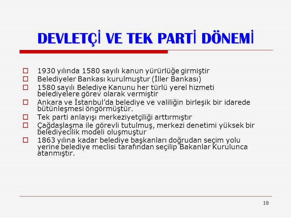 18  1930 yılında 1580 sayılı kanun yürürlüğe girmiştir  Belediyeler Bankası kurulmuştur (İller Bankası)  1580 sayılı Belediye Kanunu her türlü yere