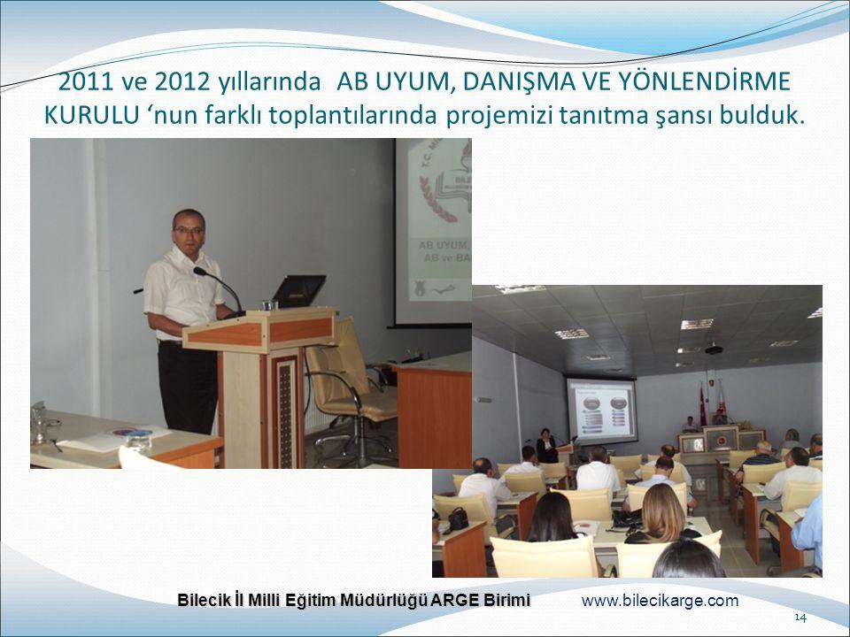 Bilecik İl Milli Eğitim Müdürlüğü ARGE Birimi Bilecik İl Milli Eğitim Müdürlüğü ARGE Birimi www.bilecikarge.com 14 2011 ve 2012 yıllarında AB UYUM, DA