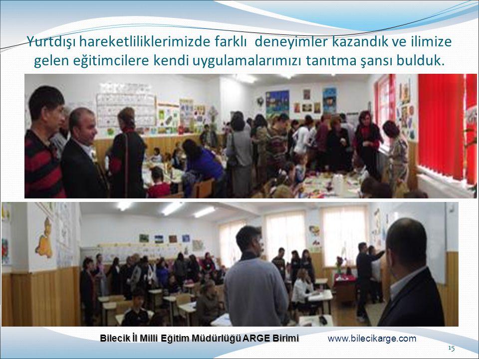 Bilecik İl Milli Eğitim Müdürlüğü ARGE Birimi Bilecik İl Milli Eğitim Müdürlüğü ARGE Birimi www.bilecikarge.com 15 Yurtdışı hareketliliklerimizde fark
