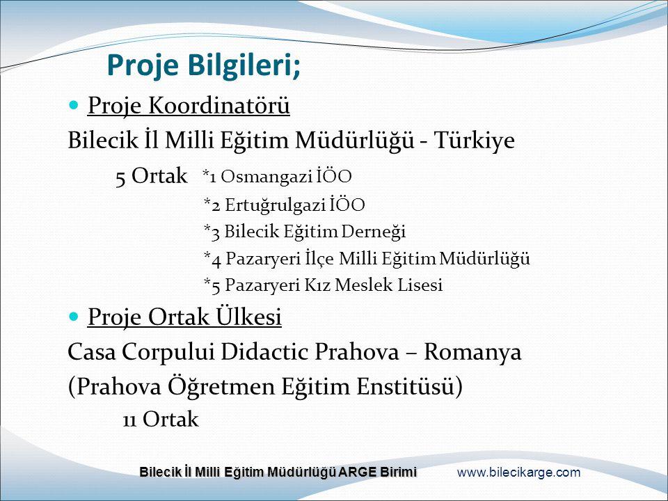 Proje Bilgileri; Proje Koordinatörü Bilecik İl Milli Eğitim Müdürlüğü - Türkiye 5 Ortak *1 Osmangazi İÖO *2 Ertuğrulgazi İÖO *3 Bilecik Eğitim Derneği