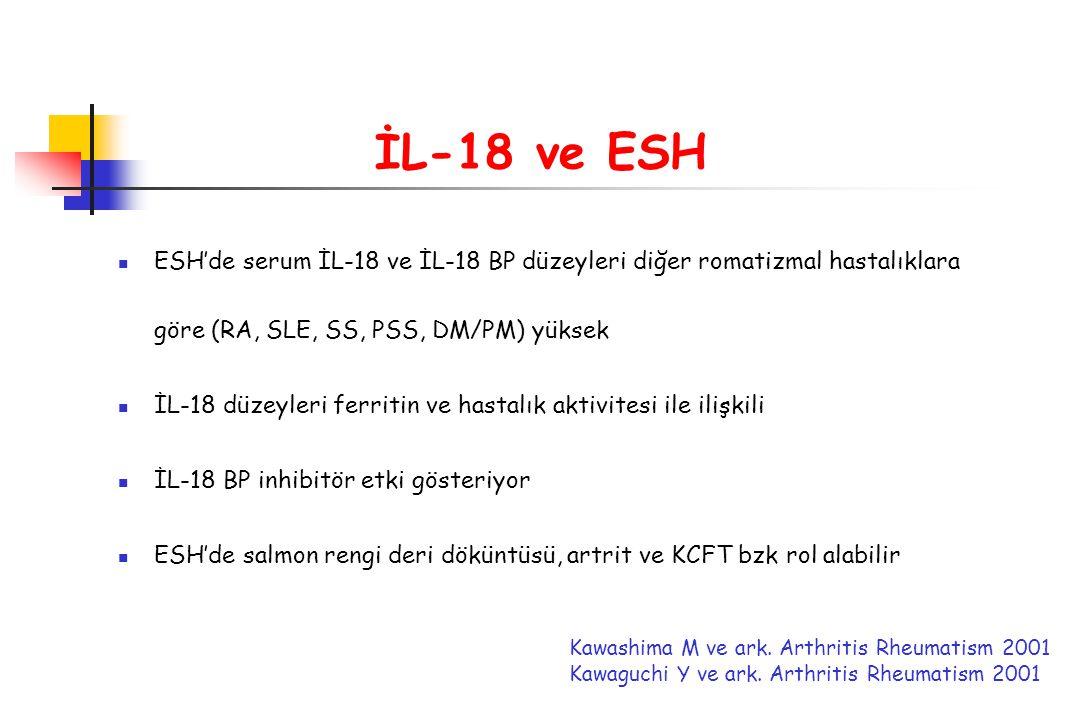 İL-18 ve ESH ESH'de serum İL-18 ve İL-18 BP düzeyleri diğer romatizmal hastalıklara göre (RA, SLE, SS, PSS, DM/PM) yüksek İL-18 düzeyleri ferritin ve