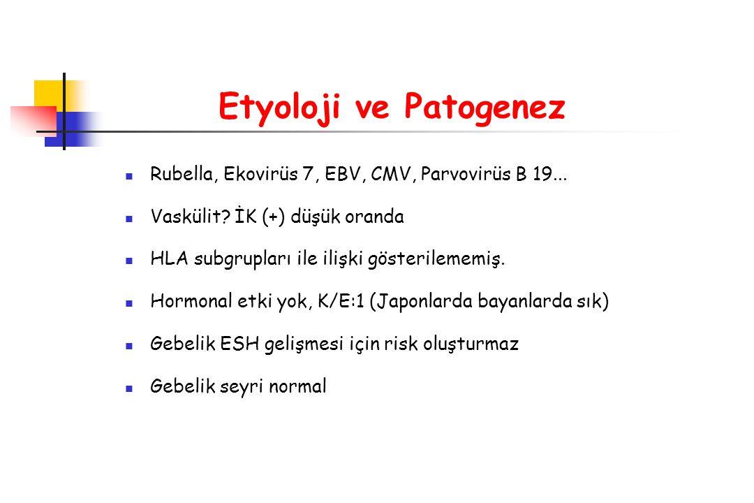 Etyoloji ve Patogenez Rubella, Ekovirüs 7, EBV, CMV, Parvovirüs B 19... Vaskülit? İK (+) düşük oranda HLA subgrupları ile ilişki gösterilememiş. Hormo