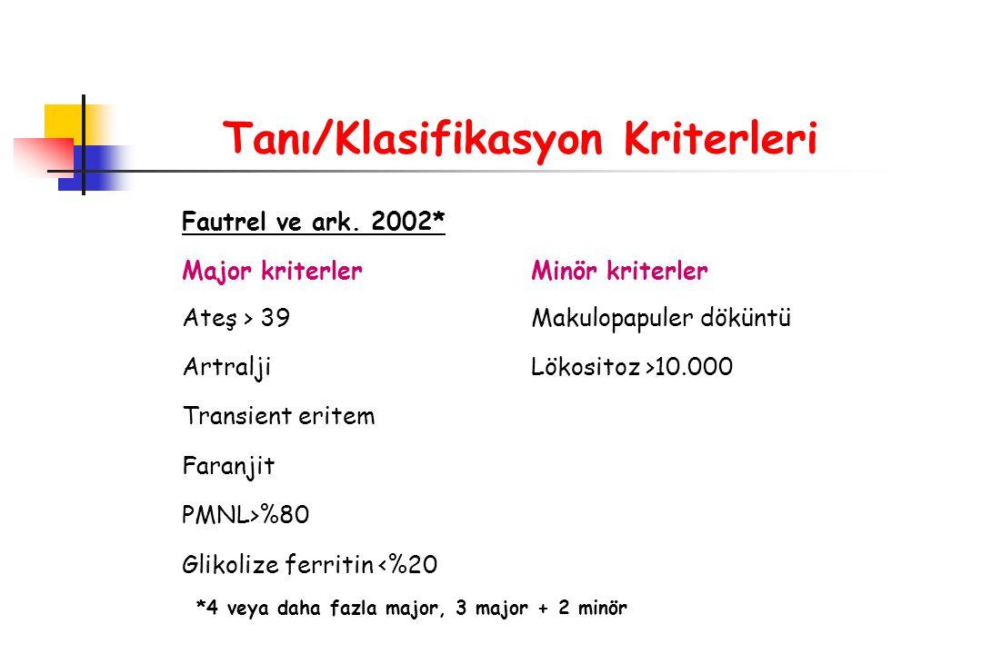 Tanı/Klasifikasyon Kriterleri Fautrel ve ark. 2002* Major kriterlerMinör kriterler Ateş > 39Makulopapuler döküntü ArtraljiLökositoz >10.000 Transient
