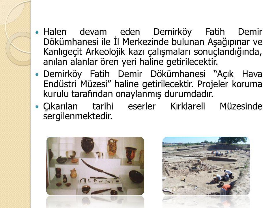 Halen devam eden Demirköy Fatih Demir Dökümhanesi ile İl Merkezinde bulunan Aşağıpınar ve Kanlıgeçit Arkeolojik kazı çalışmaları sonuçlandığında, anılan alanlar ören yeri haline getirilecektir.