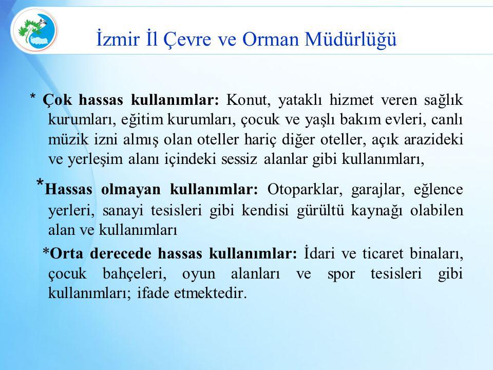İzmir İl Çevre ve Orman Müdürlüğü * Çok hassas kullanımlar: Konut, yataklı hizmet veren sağlık kurumları, eğitim kurumları, çocuk ve yaşlı bakım evler