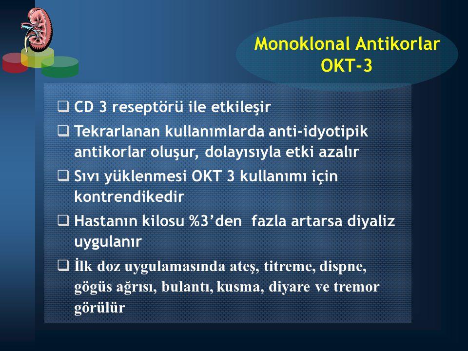  CD 3 reseptörü ile etkileşir  Tekrarlanan kullanımlarda anti-idyotipik antikorlar oluşur, dolayısıyla etki azalır  Sıvı yüklenmesi OKT 3 kullanımı