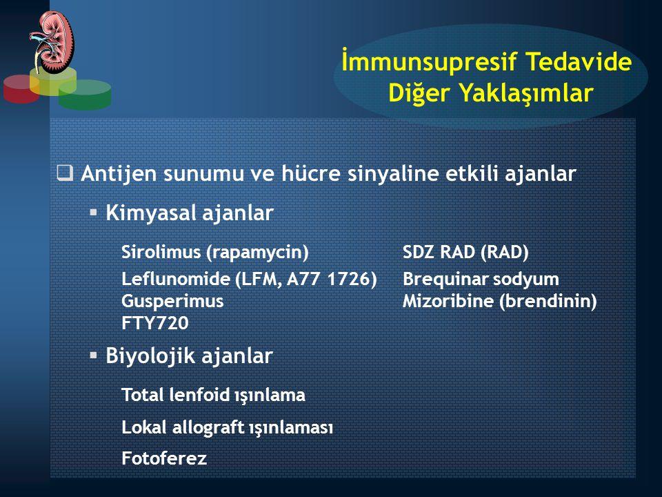  Antijen sunumu ve hücre sinyaline etkili ajanlar  Kimyasal ajanlar Sirolimus (rapamycin) SDZ RAD (RAD) Leflunomide (LFM, A77 1726) Brequinar sodyum